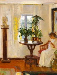 interior from saxild's house with a girl sewing at the window by helga ancher