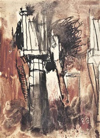 steel works, cardiff, blast furnace towers by graham sutherland