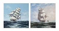 ariel cracking along in an ocean breeze; taeping on the twilight watch (both illustrated) (pair) by john bentham-dinsdale