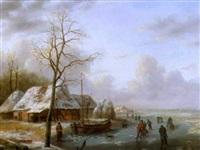 paysage d'hiver avec patineurs by albert eduard moerman