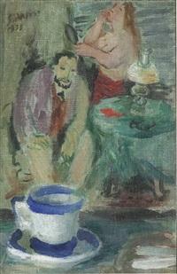 interno con pittore, modella e tazza blu by giulio da milano