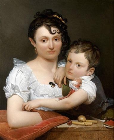 portrait dune jeune mère et de son fils avec des jouets accoudés à un bord de fenêtre by henri françois riesener