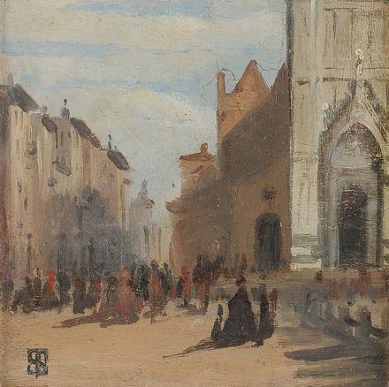 piazza santa croce by telemaco signorini