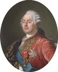 king louis xvi of france wearing the order of the golden fleece, the order of saint esprit and the order of saint louis, with an embroidered drape over his right shoulder by joseph boze