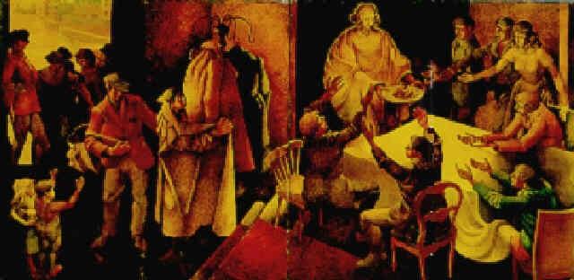 christ feeding the people by fyffe christie
