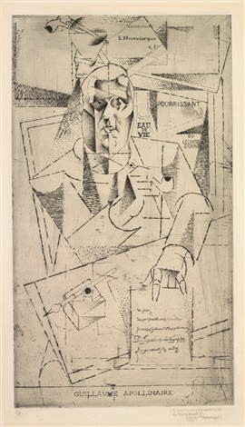 portrait guillaume apollinaire by louis marcoussis