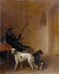 a sportsman in an interior with his dogs by edmund bristow