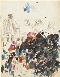 feuille d'étude, probablement pour goetz de berlichingen, et essais de couleurs by eugène delacroix
