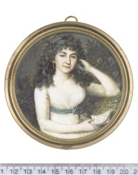 a lady, seated in a garden, wearing white dress, dark green sash with silver tassels and tied in a ribbon bow at her side, gold hooped earrings by anton graff