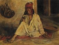 femme bédouine assise dans un intérieur by fritz muller