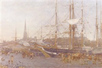 a busy harbour scene at dusk by william matthew hale