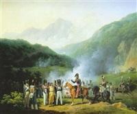 avant-poste de l'armée française au bivouac, dans la sierra morena by hippolyte lecomte