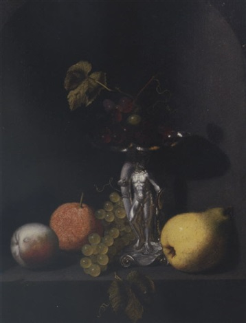 a peach an orange grapes a pear and blue grapes in a silver hercules tazza on a stone ledge in a niche by pieter van den bos