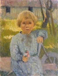 enfant assis tenant un bouquet de fleurettes by marcel couchaux