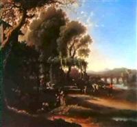 paesaggio romano con personaggi in conversazione, lavandaie, villici by angeluccio