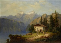 alpine lake scene with figures before a cottage by henri baumgartner