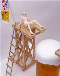 edible artificial girl, mi-mi chan series 8 works & mi-mi chan beer by makoto aida
