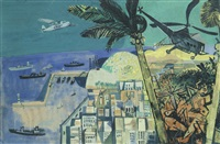 rio; study for 'the bank of south america' mural by john minton