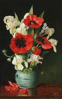 still life with flowers in a vase by niels peter rasmussen