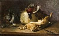 nature morte au lièvre, faisan et bécasse by guillaume romain fouace