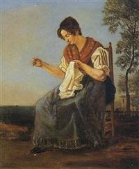 femme de tivoli cousant by gabriele smargiassi
