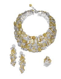demi-parure comprising a bib necklace of geometric shapes, a pair of pendent ear clips of matching design and a ring (set of 3) by adler