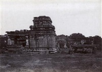 iwullee: temple and cromlech outside the town (from architecture in dharwar and mysore) by thomas biggs