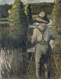 alexander altmann peignant, de dos, dans un paysage by henri gabriel ibels