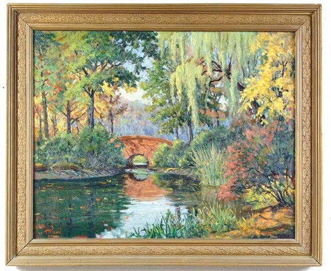 landscape with bridge by harold woodford pond
