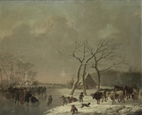 figures skating on a frozen lake in a winter landscape by leendert de koningh