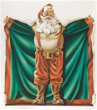 santa claus holding cape open by paul allen