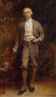 portrait of richard lee, standing full length in an interior by edwin arthur ward