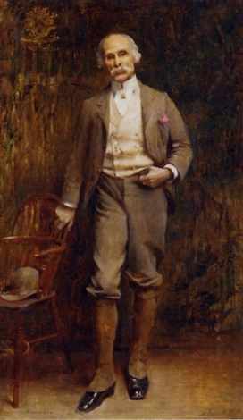 portrait of richard lee standing full length in an interior by edwin arthur ward