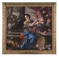 natura morta di fiori con figura femminile e paggio by giuseppe recco