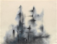untitled (abstract composition in blue and black) by norman lewis