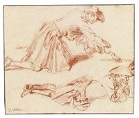 study of two soldiers, one kneeling, one lying down by jean antoine watteau