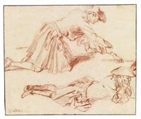 study of two soldiers, one kneeling, one lying down by jean antoine watteau