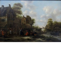 attributed to klaes molenaer village fete by klaes molenaer