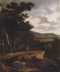 a wooded landscape with travellers on a path by hans de jode