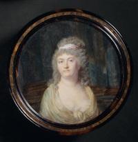 portrait d'une femme en robe largement décolletée, un fichu crème sur les épaules, les cheveux attachés par un ruban rose, fondond de colonnades by jean baptiste jacques augustin