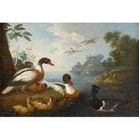 waterfowl in a landscape (pair) by pieter casteels iii