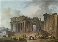 an architectural capriccio with an artist sketching in the foreground by hubert robert