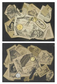 a trompe-l'oeil of literary extracts, maps, engravings, medallions and a compass (+ a trompe-l'oeil of literary extracts, engravings, medallions, spectacles, a pen knife and a quill pen; pair) by pasquale angiolini