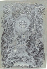 a study for a frontispiece: the trinity and saints surrounding the sacred hearts of christ and the virgin mary, a coastal landscape below by vitus felix rigl