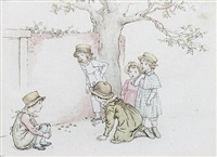 children playing by kate greenaway