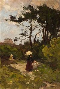 a walk on a summer's day by johannes evert hendrik akkeringa