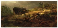 a farmhouse by a river (oil study) by andreas achenbach