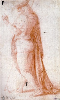 a young man in profile to the right, wearing a hat by bacchiacca