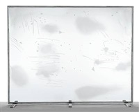 sandblasted etched glass window by michael heizer