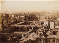 vue de paris, le palais de justice et l'hôtel-dieu by c. marle